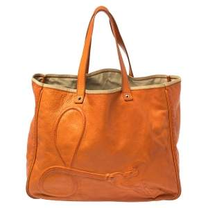 Saint Laurent Orange Leather Charms Tote