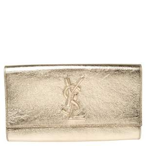 Saint Laurent Metallic Gold Leather Belle De Jour Flap Clutch