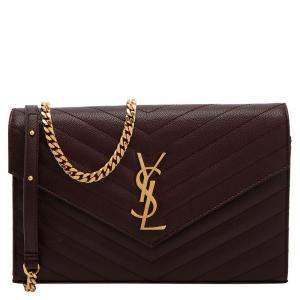 Saint Laurent Black Matelasse Leather Monogram Envelope Wallet on Chain Bag