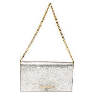 Saint Laurent Silver Leather Chain Clutch
