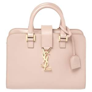 Saint Laurent Pink Leather Baby Monogram Cabas Tote