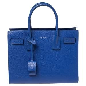 Saint Laurent Blue Leather Baby Classic Sac De Jour Tote