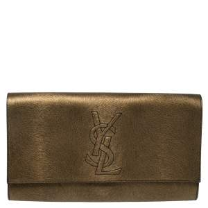 Saint Laurent Gold/Black Textured Leather Belle De Jour Flap Clutch