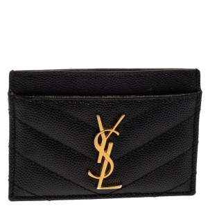 Saint Laurent Black Matelasse Leather Monogram Card Holder