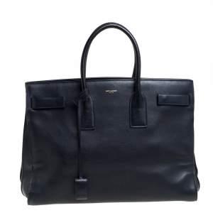 Saint Laurent Navy Blue Leather Large Classic Sac De Jour Tote