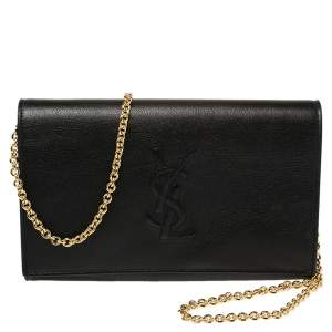 Saint Laurent Black Leather Chain Clutch