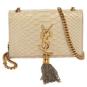 Saint Laurent Off White Python Embossed Leather Small Kate Tassel Crossbody Bag