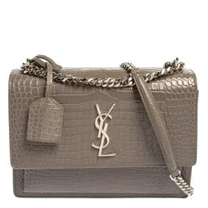 Saint Laurent Grey Croc Embossed Leather Medium Sunset Shoulder Bag