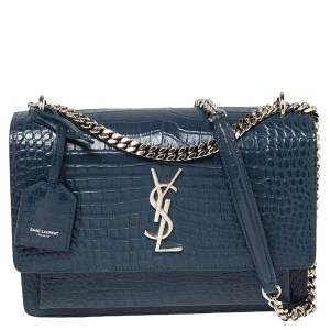 Saint Laurent Blue Croc Embossed Leather Medium Sunset Shoulder Bag