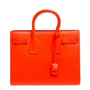 Saint Laurent Neon Orange Leather Small Classic Sac De Jour Tote