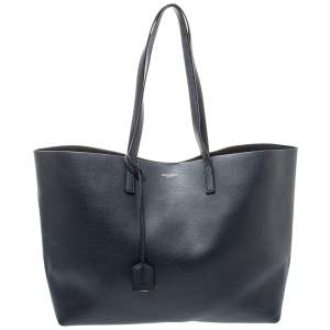 Saint Laurent Midnight Blue Leather E/W Shopper Tote