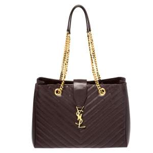 Saint Laurent Burgundy Matelasse Leather Cassandre Shopper Tote
