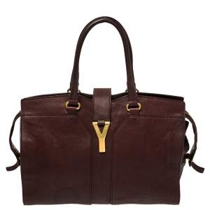 Saint Laurent Burgundy Leather Medium Cabas Chyc Tote