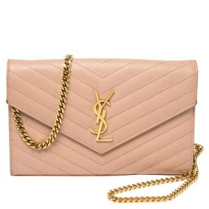 Saint Laurent Pink Matelasse Leather Monogram Envelope Wallet on Chain