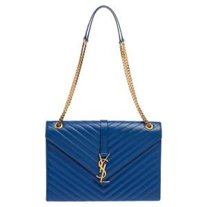 Saint Laurent Blue Matelasse Leather Large Cassandre Flap Bag