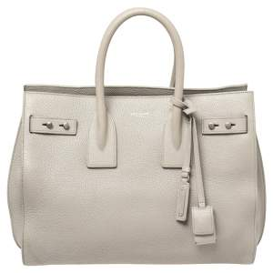 Saint Laurent Grey Leather Small Sac de Jour Souple Tote