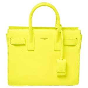 Saint Laurent Neon Green Leather Nano Classic Sac De Jour Tote
