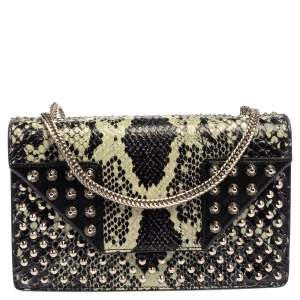 Saint Laurent Black/Green Python and Leather Betty Flap Shoulder Bag