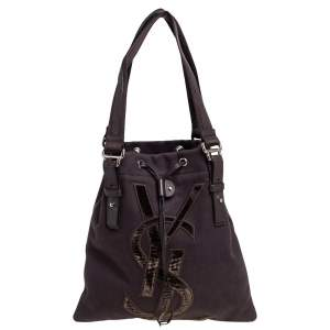 Saint Laurent Chocolate Brown Canvas and Velvet Kahala Drawstring Tote
