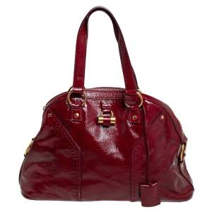 Yves Saint Laurent Red Patent Leather Large Muse Satchel