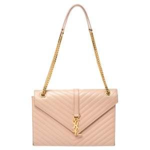 Saint Laurent Beige Matelasse Leather Large Cassandre Flap Bag