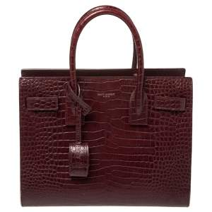Saint Laurent Burgundy Croc Embossed Leather Baby Classic Sac De Jour Tote