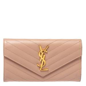Saint Laurent Powder Pink Matelasse Leather Monogram Envelope Wallet