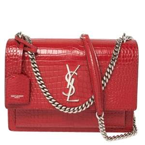Saint Laurent Red Croc Embossed Leather Medium Sunset Shoulder Bag