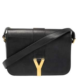 Saint Laurent Black Leather Y-Ligne Flap Crossbody Bag