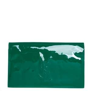 Yves Saint Laurent Green Patent Leather Belle De Jour Clutch