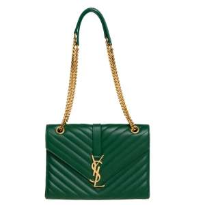 Saint Laurent Green Chevron Leather Medium Cassandre Flap Bag