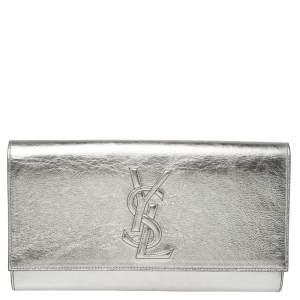 Yves Saint Laurent Silver Leather Belle De Jour Clutch