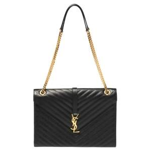 Saint Laurent Black Chevron Leather Large Cassandre Flap Bag