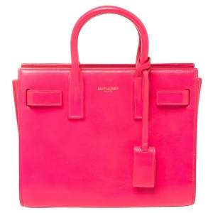 Saint Laurent Neon Pink Leather Nano Classic Sac De Jour Tote