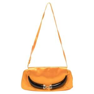 Yves Saint Laurent Orange Satin Horn Embellished Flap Shoulder Bag