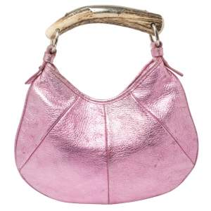 Yves Saint Laurent Metallic Pink Leather Mombasa Hobo