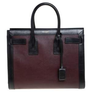Saint Laurent Burgundy/Black Leather Small Classic Sac De Jour Tote