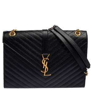 Saint Laurent Black Matelasse Leather Large Cassandre Flap Bag