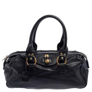 Yves Saint Laurent Black Leather Muse Bowler Bag