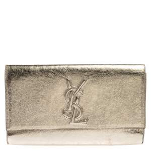 Yves Saint Laurent Metallic Gold Leather Belle De Jour Clutch
