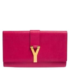 Yves Saint Laurent Pink Leather Y-Ligne Clutch