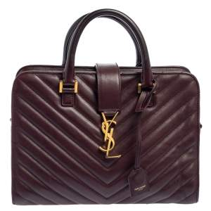 Saint Laurent Burgundy Matelasse Leather Small Monogram Cabas Tote