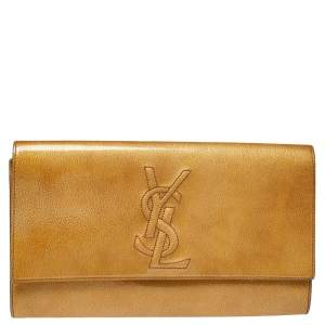Yves Saint Laurent Yellow Patent Leather Belle De Jour Clutch