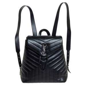 حقيبة ظهر سان لوران لولو جلد مبطن واي أسود