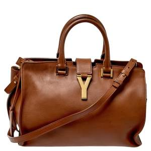 Saint Laurent Brown Leather Small Cabas Y-Ligne Tote