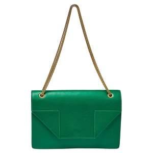حقيبة كلتش سان لوران بتي جلد أخضر