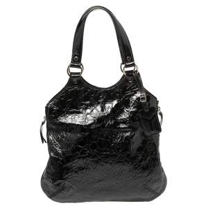 Yves Saint Laurent Black Patent Leather Small Metropolis Tribute Tote