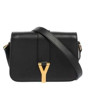 Yves Saint Laurent Black Leather Y-Ligne Flap Shoulder Bag