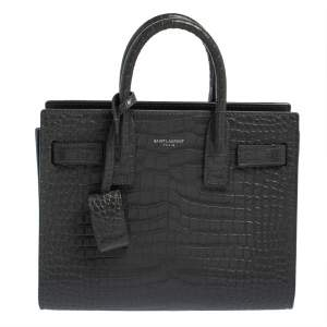 Saint Laurent Grey Croc Embossed Leather Nano Classic Sac De Jour Tote