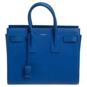 حقيبة يد سان لوران كلاسيك ساك دو جور صغيرة جلد أزرق